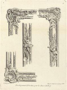 Sixième Livre de l'Oeuvre (de Meissonnier): Developement de bordures pour une chasse du Roy: zevende blad, Juste Aurèle Meissonnier, Gabriel Huquier, Gabriel Huquier, 1733