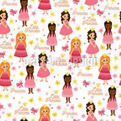 Little Princesses Seamless Vector Pattern Vector Pattern, Pattern Design, Little Princess, Princesses, Fairytale, Patterns, Cute, Fairy Tail, Block Prints
