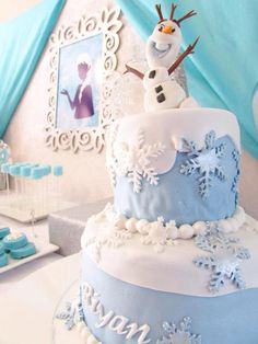 Darling CAKE at a Frozen Birthday Party via Kara's Party Ideas KarasPartyIdeas.com The Place for All Things PARTY! #frozen #frozenparty #frozenbirthdayparty #frozenpartyideas #disneyfrozen #winterparty #frozencake