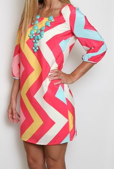Girly Girl Chevron Dress- if only it wasn't open in the back.