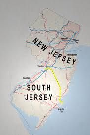 Big difference. This map nails it for the most part. Entering the South, you come to the Pine Barrens, one huge wilderness where the mafia lay their dead to rest; to the north it's all refineries along I-95, though much of the north is forest, as well.