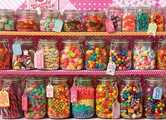 Candy Store - Jigsaw Puzzle by Cobble Hill Candy Table, Candy Buffet, Bar A Bonbon, Candy Display, Apple Smoothies, Candy Party, Hard Candy, Savoury Cake, Candyland