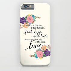 The Greatest of These is Love (floral) iPhone & iPod Case