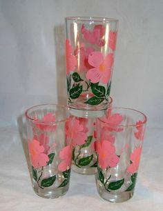 Vintage Boscul Peanut Butter Swanky Swig Flower Glass Tumbler Pink DOGWOOD