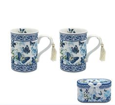 This practical and pretty pair of boxed Dorset shaped china mugs depicts a bevy of fluttering butterflies in a pretty gift box as a stylish addition