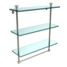 Allied Brass Foxtrot 16 in. Triple Tiered Glass Shelf with Integrated Towel Bar - FT-5/16TB-SN