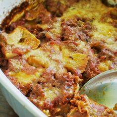 Patty Pan Squash Casserole with Tomatoes and Mozzarella