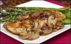 HG's Hungry-licious Chicken Marsala for Two (Don't add the salt and use low sodium broth) Calories: 240  Fat: 4g  Sodium: 785mg  Carbs: 8.5g  Fiber: 0.5g  Sugars: 4.5g  Protein: 34.5g