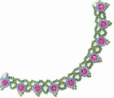 Sandra D. Halpenny's Netted Flower Necklace. Easy & fast using only 2 colors of size 11 seed beads and 6mm fire-polished crystals. #Seed #Bead #Tutorials