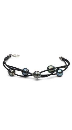 5-Strand Braided Black Tahitian Baroque Pearl Bracelet by Pure Pearls
