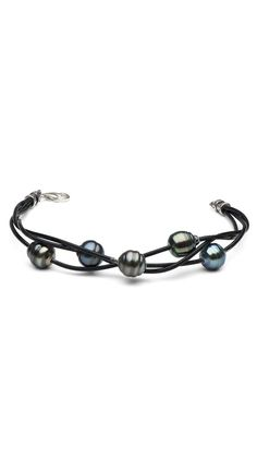 5-Strand Braided Black Tahitian Baroque Pearl Bracelet by Pure Pearls