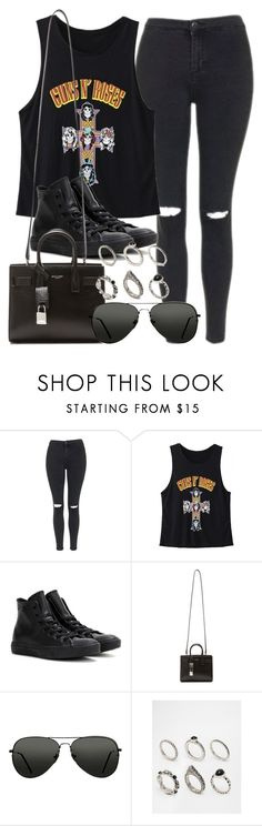 """""""Style #10488"""" by vany-alvarado ❤ liked on Polyvore featuring Topshop, WithChic, Converse, Yves Saint Laurent and ASOS"""