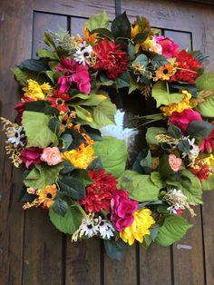 A personal favorite from my Etsy shop https://www.etsy.com/listing/248209048/floral-wreath-fall-wreath-wedding-wreath