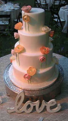 4 Tier Fondant Wedding Cake With Sugar Ranunculus on Stems by Vanilla Bake Shop.