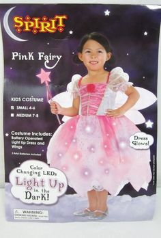 Pink Fairy Kids Halloween Costume Girls Small 4 6 LED LIGHT UP Dress and Wings  #Spirit #CompleteCostume