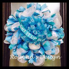 Autism Awareness Wreath  Light it up blue by RowenasDesign on Etsy