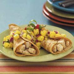Chicken Tacos with Pineapple Pico de Gallo Recipe  http://www.tasteofhome.com/Recipes/Chicken-Tacos-with-Pineapple-Pico-de-Gallo#