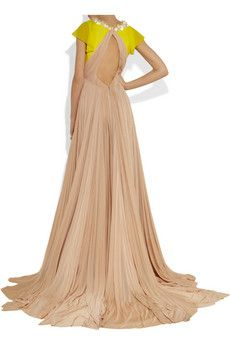 DELPOZO pleated jersey and chiffon gown