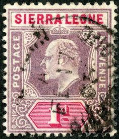 "Sierra Leone 1903 Scott 65 1p violet & carmine, Wmk 2 ""King Edward VII"""