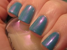 Fly by OPI with 1 coat of Violet Shimmer by CND. Inspired by Aqua Lily by Rescue Beauty Lounge. Mani by bostonmerlin10