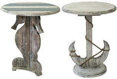 Coastal & Nautical Accent, Side & End Tables can find Nautical and more on our website.Coastal & Nautical Accent, Side & End Tables Beach Cottage Style, Beach House Decor, Beach Furniture, Coastal Bedrooms, Am Meer, Beach Crafts, Coastal Decor, End Tables, Wood Crafts