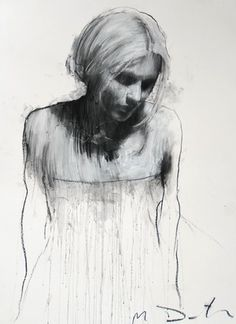 Sam looking downwards, pastel & collage, 30ins x 40ins. | Mark Demsteader | mark demsteader