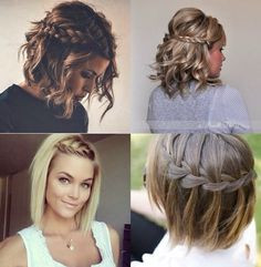 Braids with waves, dressy/casual hair styles Pretty Hairstyles, Braided Hairstyles, Wedding Hairstyles, Hairstyle Ideas, Medium Hair Styles, Curly Hair Styles, Pinterest Hair, How To Make Hair, Bridesmaid Hair