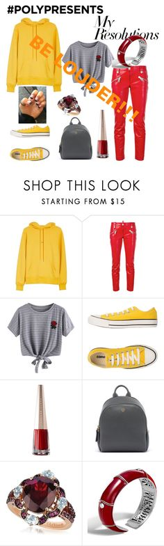 """#PolyPresents: New Year's Resolutions"" by mayamaya269 ❤ liked on Polyvore featuring Helmut Lang, Dsquared2, WithChic, Converse, MCM, LE VIAN, John Hardy, contestentry and polyPresents"