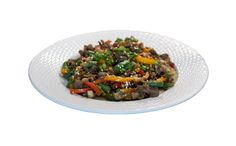 Стир фрай с красным рисом, овощами и говядиной от Торгового Дом Ярмарка. Азиатская кухня.