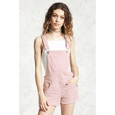 Forever21 Distressed Overall Shorts (£23) ❤ liked on Polyvore featuring shorts, blush, ripped shorts, distressed overall shorts, overall shorts, overalls shorts and bib shorts