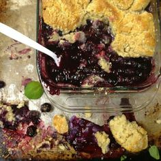 Photo Shoot: Blueberry Cobbler on the food stylist's station. We're shooting the next Cookbook Awards story.