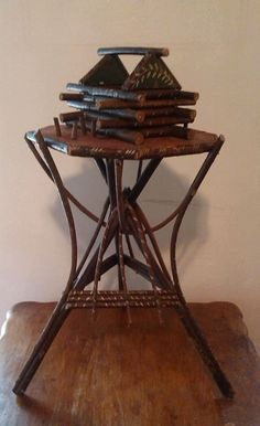 Vintage Primitive Adirondack Bent Twig Branch Wood Folk Art Smoking Stand  #Americana $125