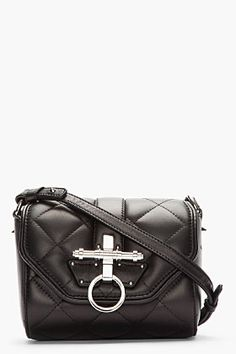 Givenchy Black Leather Quilted Obsedia Shoulder Bag for women | SSENSE