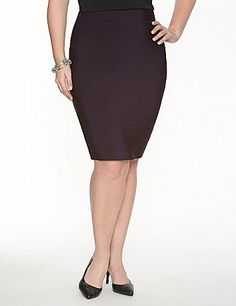 Flaunt feminine curves with the timeless style of our knit bandage skirt. Pull-on skirt offers a curve-hugging, flattering fit that pairs beautifully with practically any top. Comfortable elastic waist. Your favorite heels are begging for this hot skirt! lanebryant.com