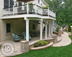 Patio Under Decks, Decks And Porches, Back Patio, Walkout Basement Patio, Backyard Patio Designs, Backyard Decks, Backyard Retreat, Patio Ideas, Deck Makeover