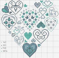 cuore con simboli; heart of hearts- includes DMC number colors.