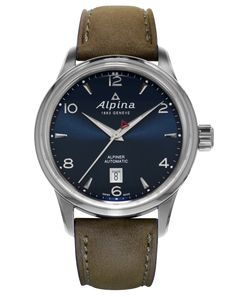 This attractive men s Alpina Alpiner watch has a stainless steel case and is powered by an automatic movement. It fastens a brown leather strap and has a blue dial. The watch has a date function. Sport Watches, Cool Watches, Rolex Watches, Watches For Men, Alpina Watches, Beautiful Watches, Automatic Watch, Stainless Steel Watch, Watches Online