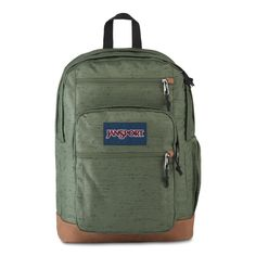 """JanSport Cool Student Backpack Muted Green All the great features of Jansport Big Student, plus a sleeve for a 15 inch"""" laptop and synthetic leather base & trim. Premium details and fabrics. Green Backpacks, School Backpacks, Leather Backpacks, Leather Bags, Best Laptop Backpack, Laptop Bags, S Curves, Jansport Backpack, Laptop Sleeves"""