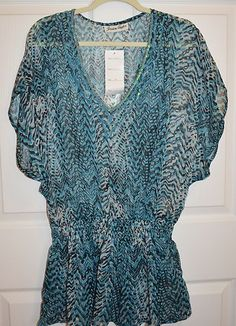 Womens New Size Med Large Turquoise Over Sized Sheer Top Blouse Dolman | eBay