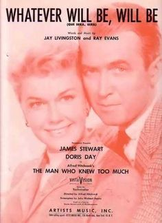 """2/16/14 7:40p   Paramount Pictures  ''The Man Who Knew Too Much''   """"What Ever Will Be, Will Be""""  Doris Day/James Stewart  Movie Sheet Music  1956  vintageadbrowser.com"""
