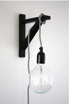 bulb hung on bracket minmalist