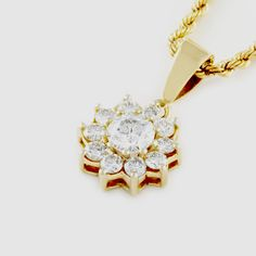 Centre stone is a round brilliant cut diamond with 10 = round diamonds set in a classic cluster setting in yellow gold Round Diamonds, Centre, Pendants, Stud Earrings, Stone, Yellow, Classic, Gold, Jewelry