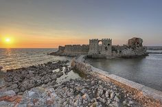 #Methoni #Messinia #Castle Greece Travel, The Good Place, To Go, Greek, Heaven, Around The Worlds, Sky, Landscape, Water