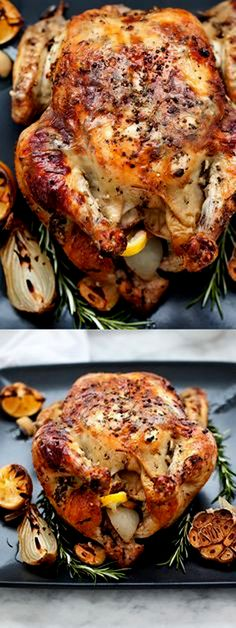 DIY The Best Oven Roasted Chicken with Lemon Rosemary Garlic Butter - Ingredients Gluten free Meat 4 lb Chicken Produce 1 head Garlic 2 tsp Lemon, zest 3 Lemons 2 Onions 2 Rosemary sprigs plus 1, fresh sprig Baking & Spices 1 Kosher salt and freshly ground pepper Dairy 4 tbsp Butter, unsalted