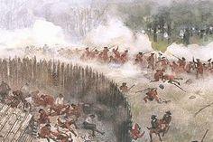 Cette peinture est une représentation de l'attaque du Fort Necessity. Aux abords de la guerre, ce genre de combat était assez fréquent, au nom de petites guerres, contre Français et Indiens. Toutefois, celle-ci sera la première défaite du général Washington et semblera marquer le début de la French and Indian War. Ce fort étant situé au sud de la Pennsylvanie, il est aujourd'hui vue comme une bataille marquante dans l'histoire des colonies. L'attaque de 1754 à été faite par Français et…