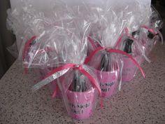 Cute bachelorette party favors... shot glasses and nail polish...