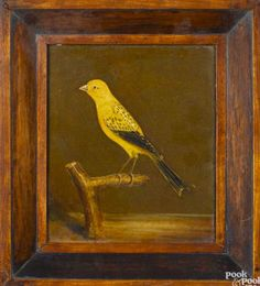 Pook & Pook 4/23/16 Lot 320 (2 of 2).   Estimate: $400 - $800. Sold for: $1,599.   Description: Pair of oil on board works of songs birds, late 19th c., 7'' x 6''. Provenance: Delaware collection. Condition: Good condition. No apparent damages or repairs.