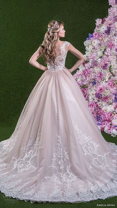 amelia sposa 2018 bridal cap sleeves sweetheart neckline heavily embellished bodice princess pink ball gown wedding dress lace back chapel train (leonarda) bv -- Amelia Sposa 2018 Wedding Dresses