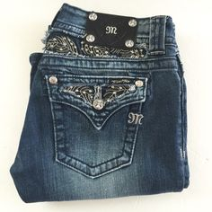 "PM EDITOR PICK MISS ME CRYSTAL LEAF CUTOUT JEANS 34"" inseam. JP5010-7 Miss Me Jeans Boot Cut"