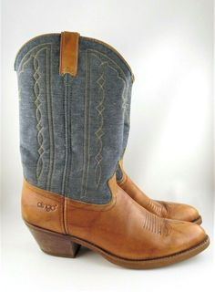 22b7d983f920 VINTAGE DINGO Cowboy Boots Denim Top Fancy Stitching, Size 12 D, made in USA